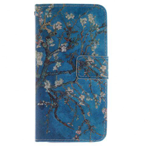 Cover Case for HTC M8 Apricot Blossom Tree PU+TPU Leather with Stand and Card Slots Magnetic Closure - BLUE