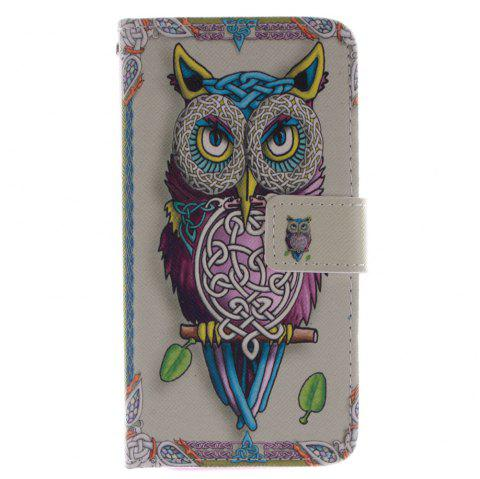Cover Case for HTC M8 Owl PU+TPU Leather with Stand and Card Slots Magnetic Closure - YELLOW