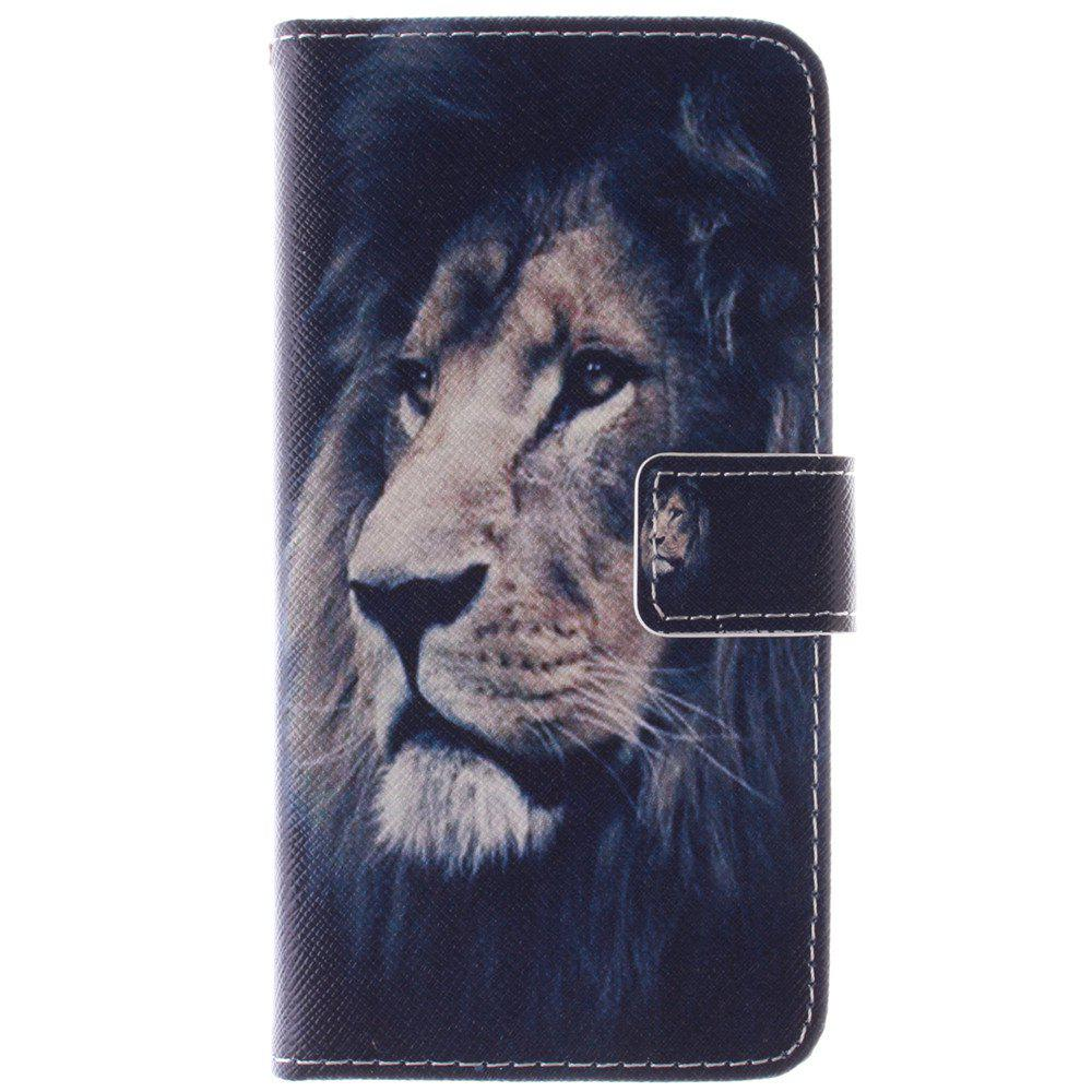 Cover Case for HTC M9 Lion PU+TPU Leather with Stand and Card Slots Magnetic Closure - BLACK