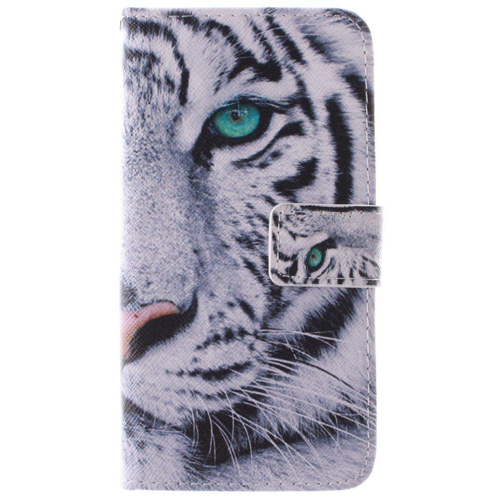 Cover Case for HTC M9 The White Tiger PU+TPU Leather with Stand and Card Slots Magnetic Closure - WHITE