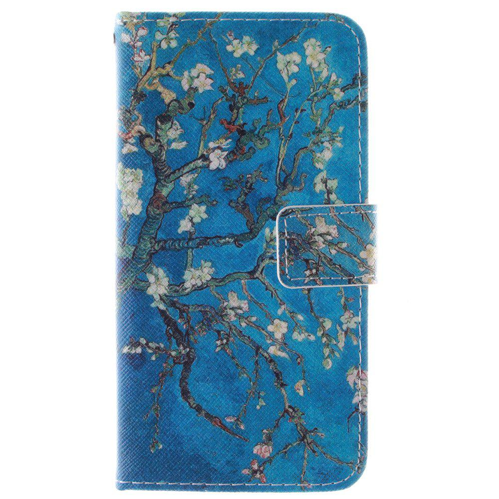 Cover Case for HTC M9 Apricot Blossom Tree PU+TPU Leather with Stand and Card Slots Magnetic Closure - BLUE