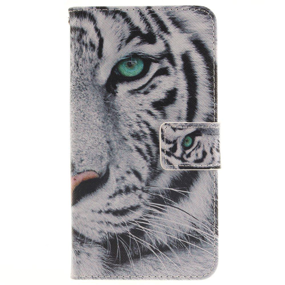 Cover Case for LG G3 Stylus D690 The White Tiger PU+TPU Leather with Stand and Card Slots Magnetic Closure - WHITE