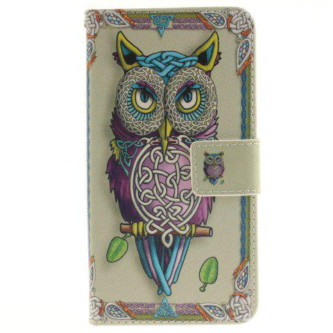 Cover Case for LG G3 Stylus D690 Owl PU+TPU Leather with Stand and Card Slots Magnetic Closure - YELLOW