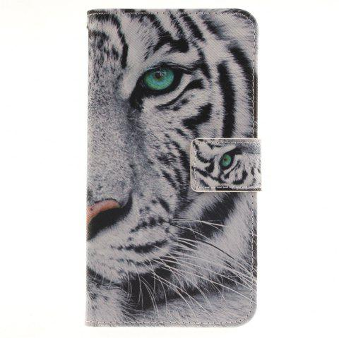 Cover Case For LG G4 Stylus LS770 The White Tiger PU+TPU Leather with Stand and Card Slots Magnetic Closure - WHITE