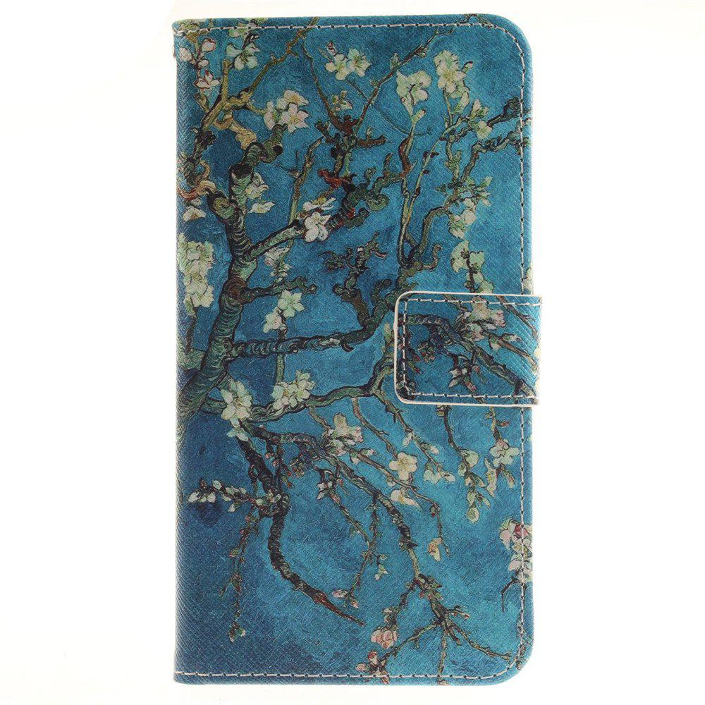Cover Case For LG G4 Stylus LS770 Apricot Blossom Tree PU+TPU Leather with Stand and Card Slots Magnetic Closure - BLUE