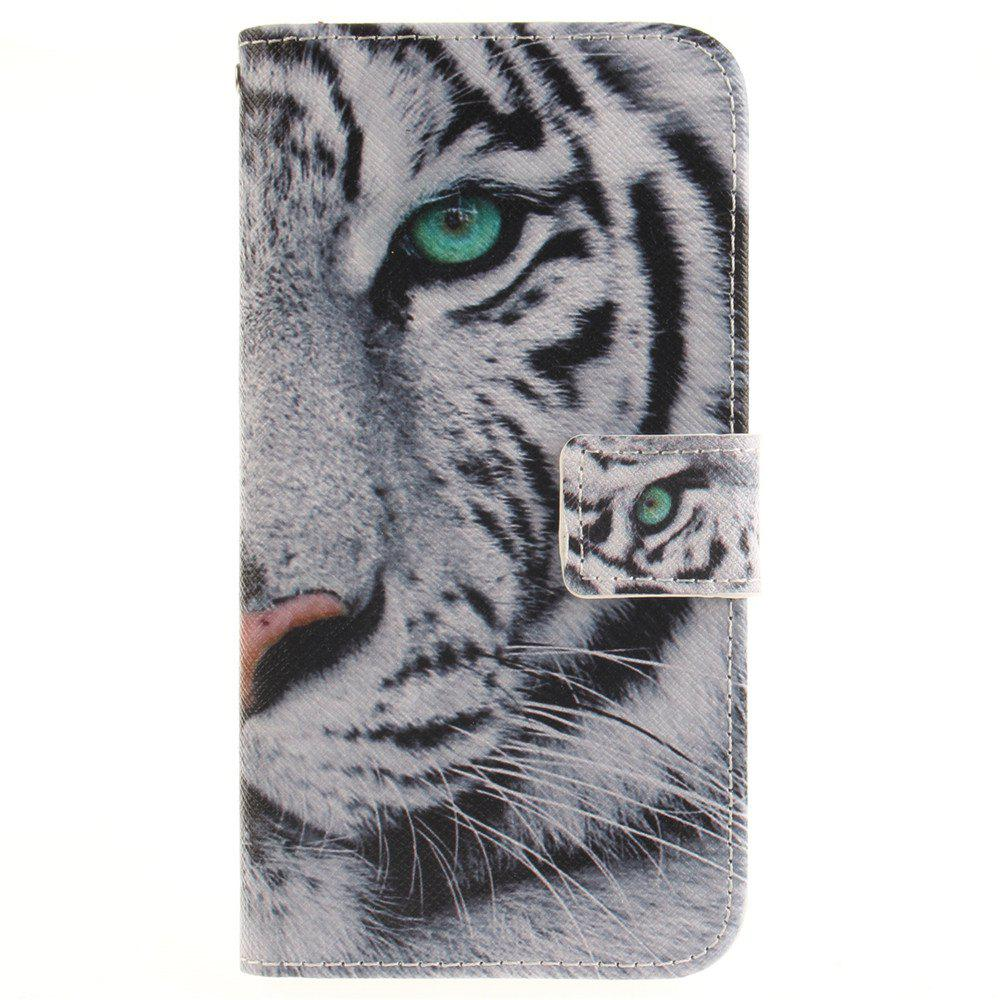 Cover Case For LG G5 The White Tiger PU+TPU Leather with Stand and Card Slots Magnetic Closure - WHITE