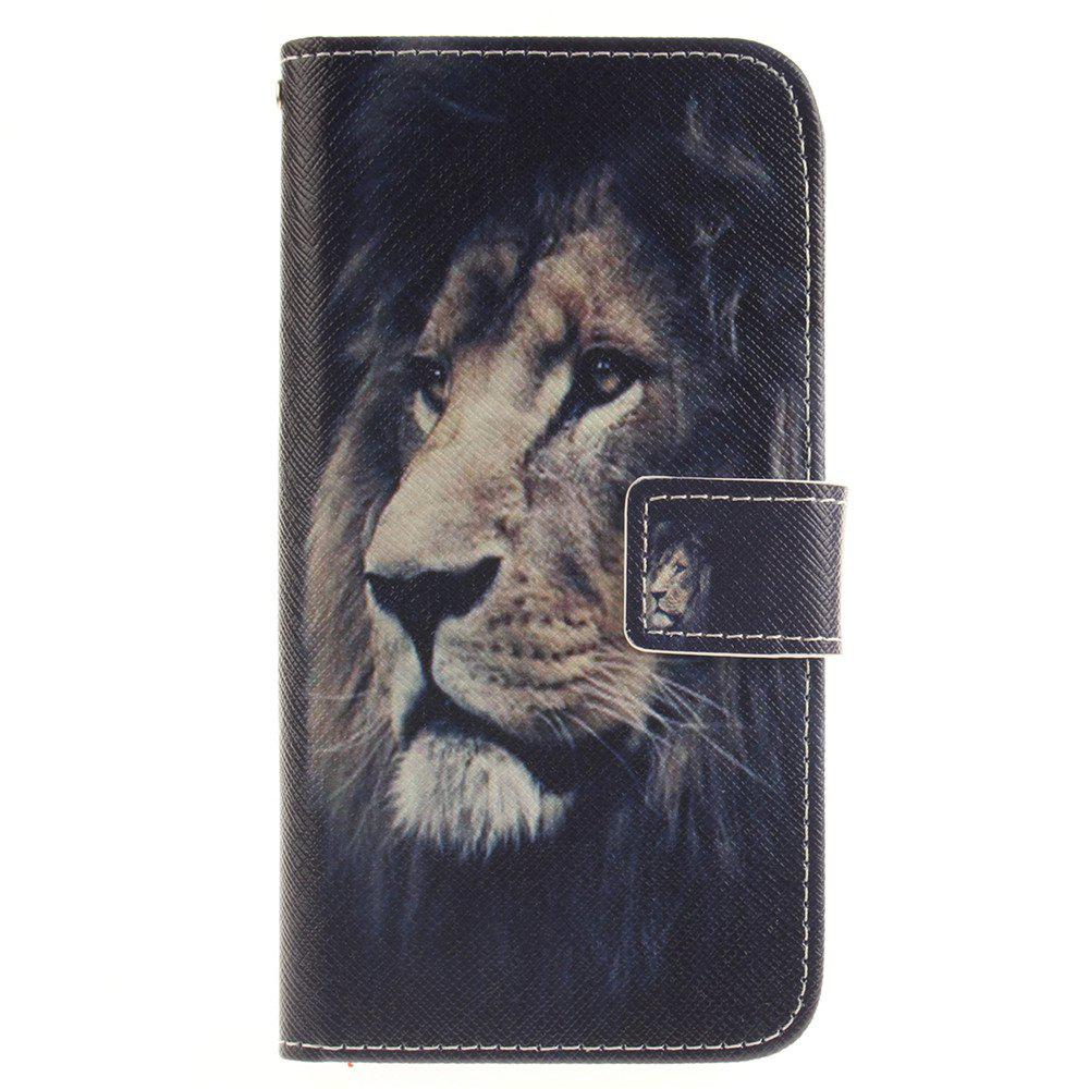 Cover Case For LG G5 Lion PU+TPU Leather with Stand and Card Slots Magnetic Closure - BLACK