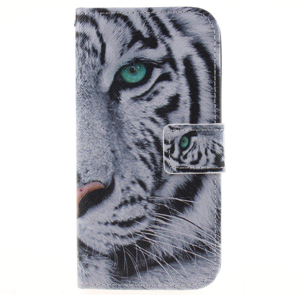 Cover Case For LG K10 White Tiger PU+TPU Leather with Stand and Card Slots Magnetic Closure - WHITE