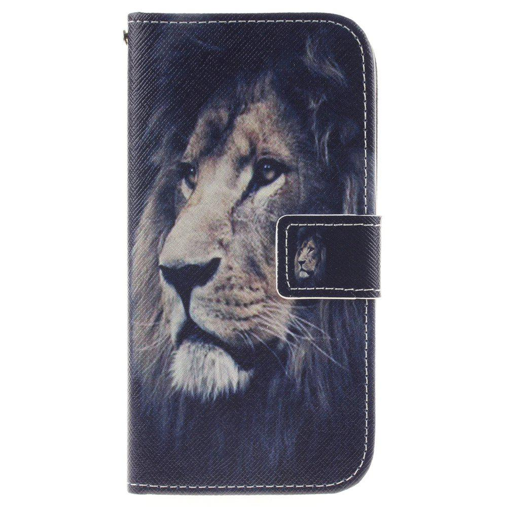 Cover Case For LG K10 Lion PU+TPU Leather with Stand and Card Slots Magnetic Closure - BLACK