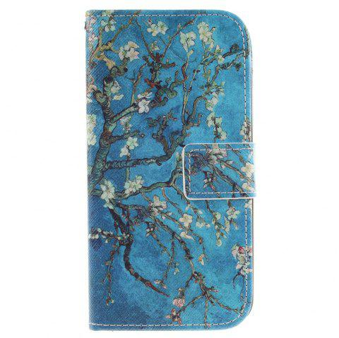 Cover Case For LG K10 Apricot Blossom Tree PU+TPU Leather with Stand and Card Slots Magnetic Closure - BLUE