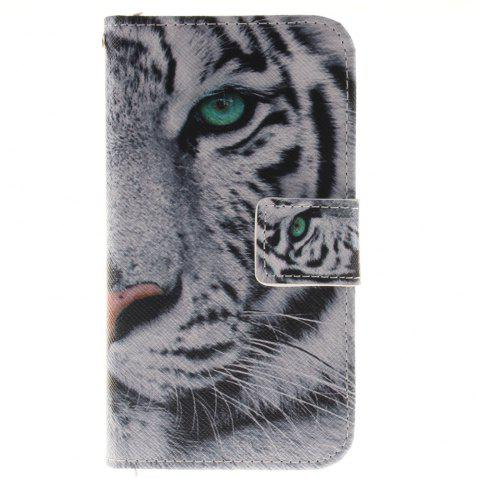 Cover Case For LG K4 The White Tiger PU+TPU Leather with Stand and Card Slots Magnetic Closure - WHITE