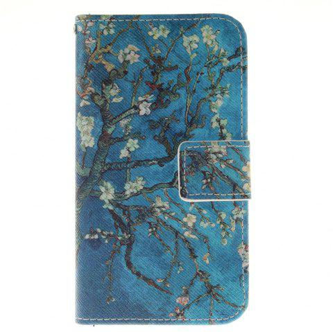 Cover Case For LG K4 Apricot Blossom Tree PU+TPU Leather with Stand and Card Slots Magnetic Closure - BLUE