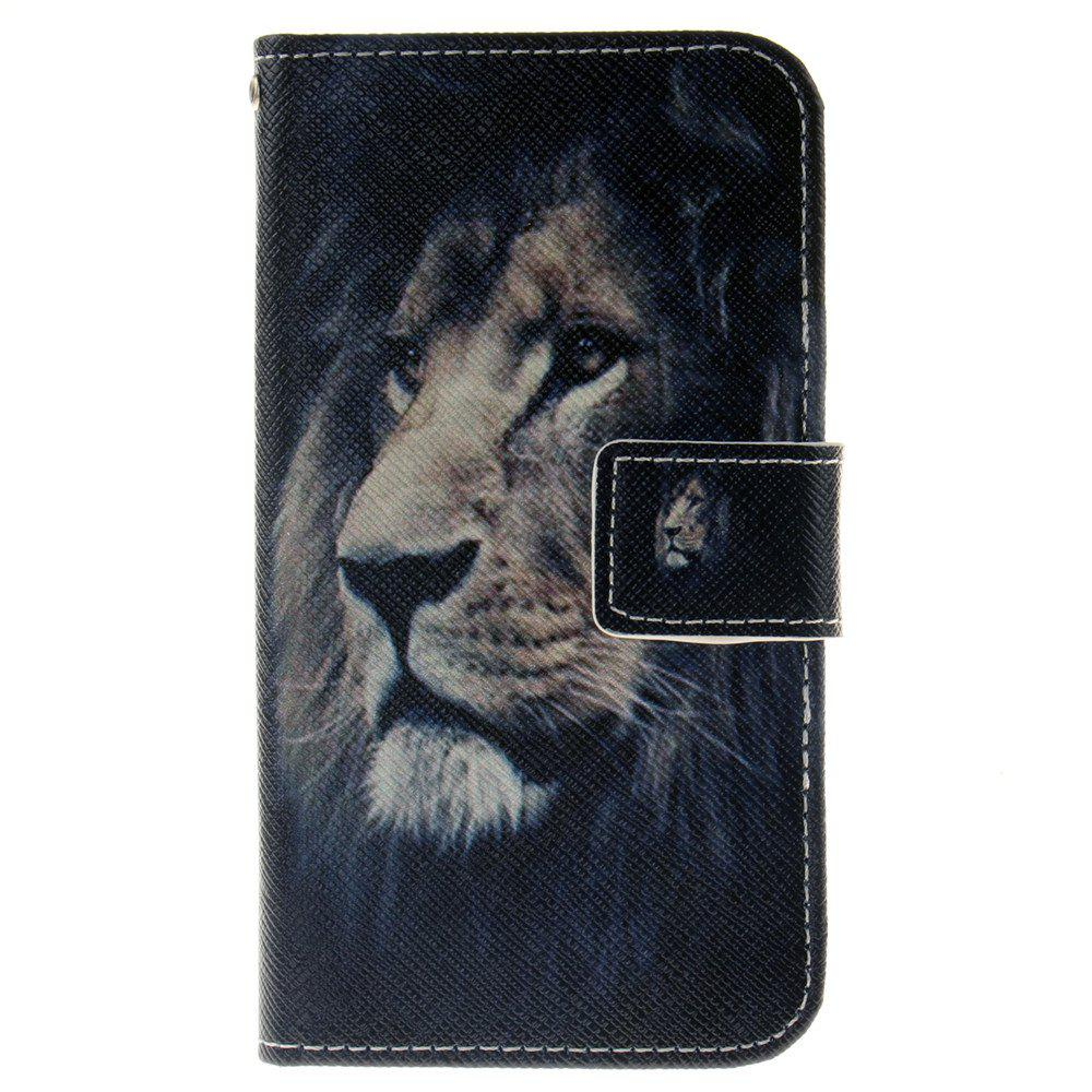 Cover Case For LG K4 Lion PU+TPU Leather with Stand and Card Slots Magnetic Closure - BLACK