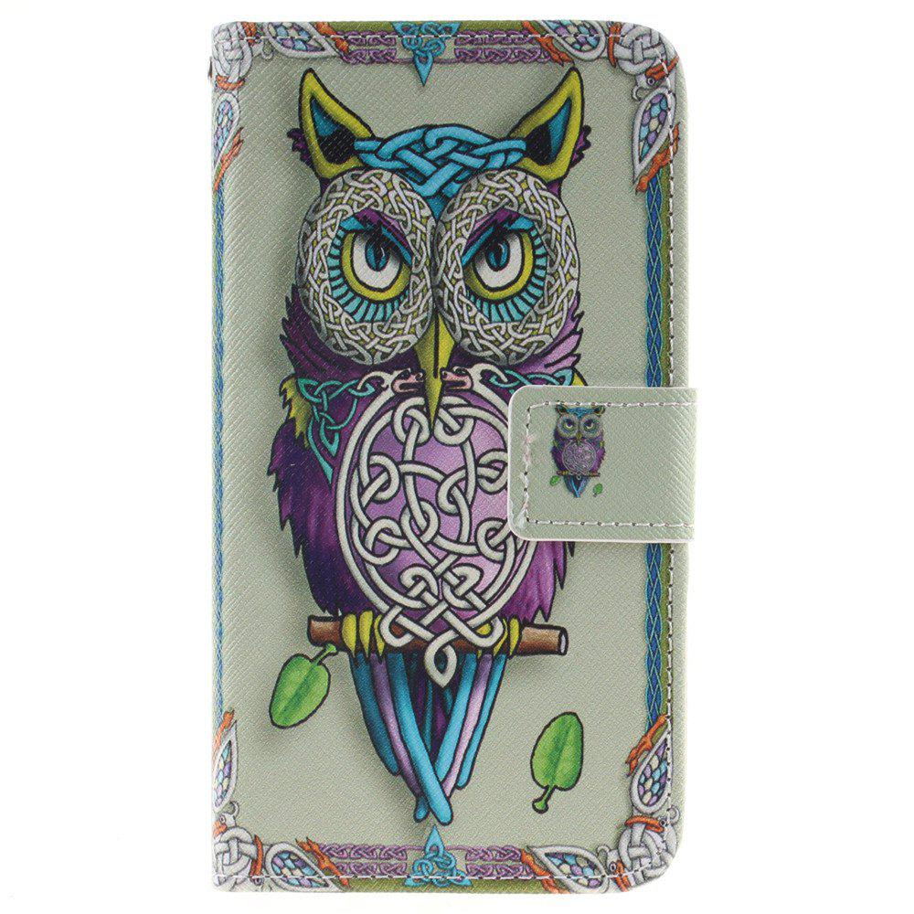Cover Case For LG K7 Owl PU+TPU Leather with Stand and Card Slots Magnetic Closure - YELLOW