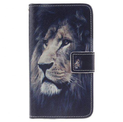 Cover Case For LG K7 lion PU+TPU Leather with Stand and Card Slots Magnetic Closure - BLACK
