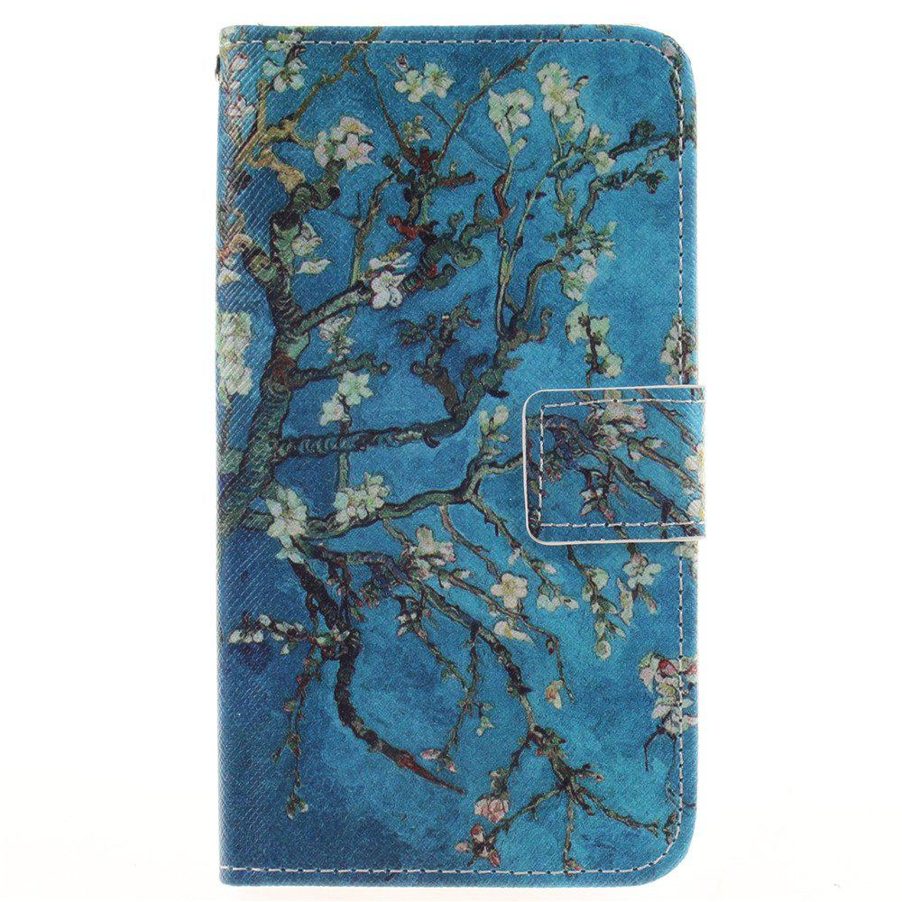 Cover Case For LG K7 Apricot Blossom Tree PU+TPU Leather with Stand and Card Slots Magnetic Closure - BLUE