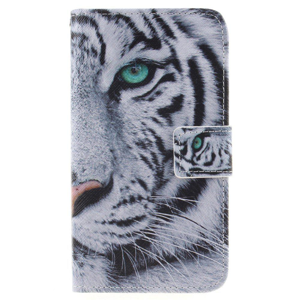 Cover Case For LG K8 White Tiger PU+TPU Leather with Stand and Card Slots Magnetic Closure - WHITE