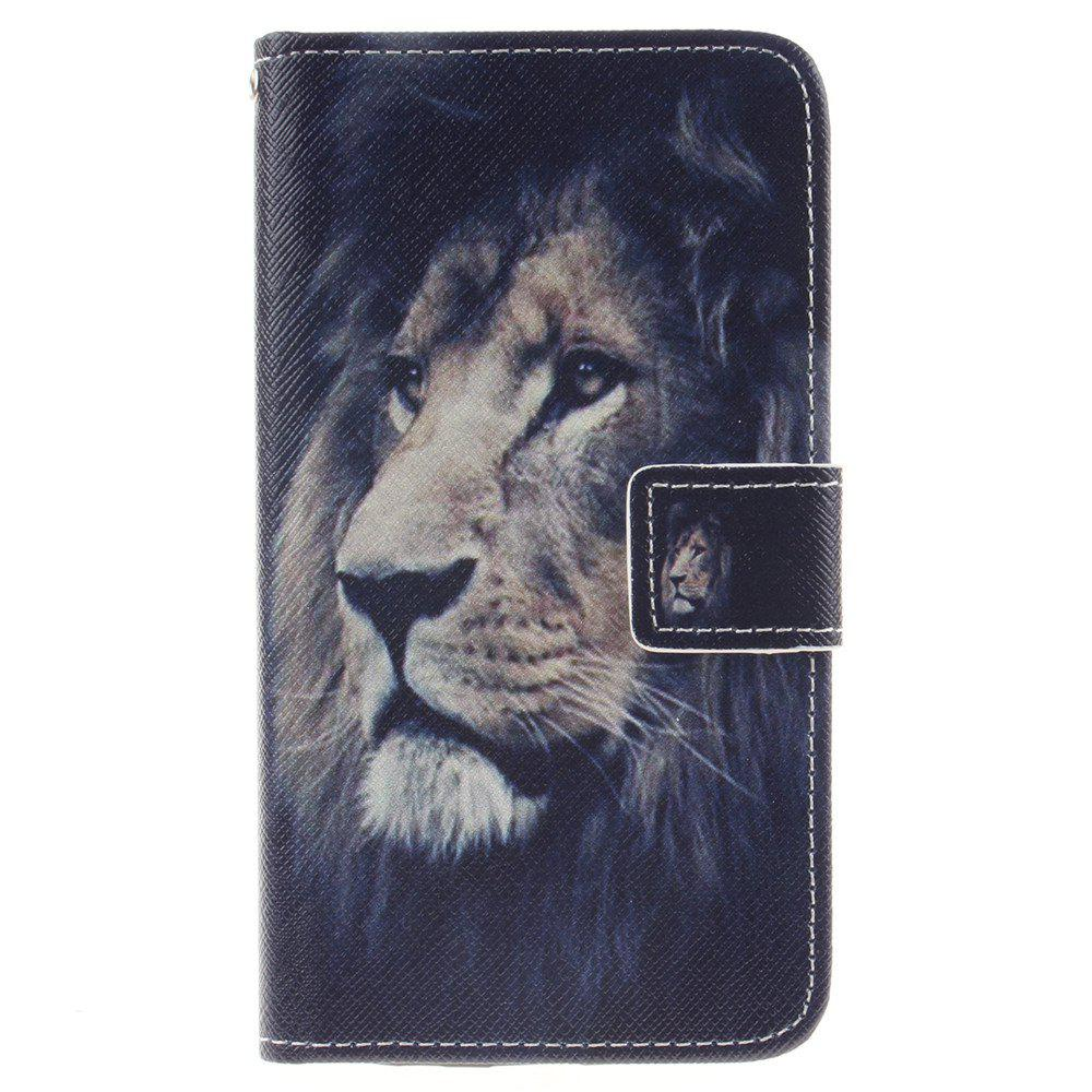 Cover Case For LG K8 Lion PU+TPU Leather with Stand and Card Slots Magnetic Closure - BLACK