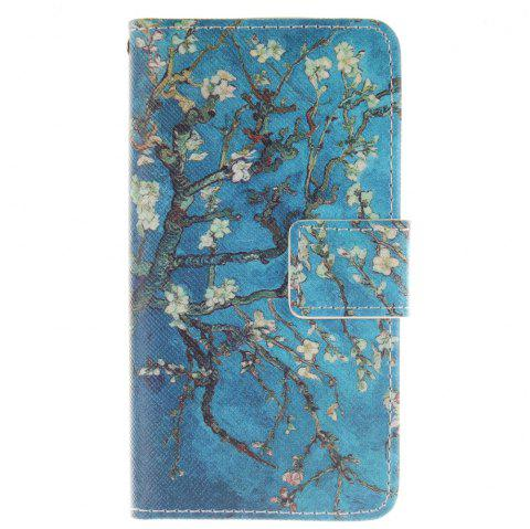 Cover Case For LG Leon Apricot Blossom Tree PU+TPU Leather with Stand and Card Slots Magnetic Closure - BLUE