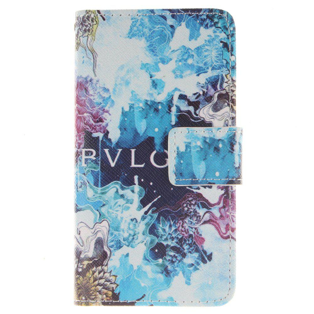 Cover Case For LG Leon Beautiful Blue PU+TPU Leather with Stand and Card Slots Magnetic Closure - BLUE