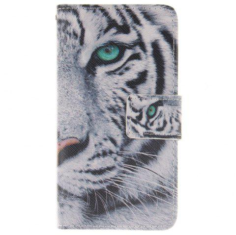 Cover Case For LG Leon The White Tiger PU+TPU Leather with Stand and Card Slots Magnetic Closure - WHITE