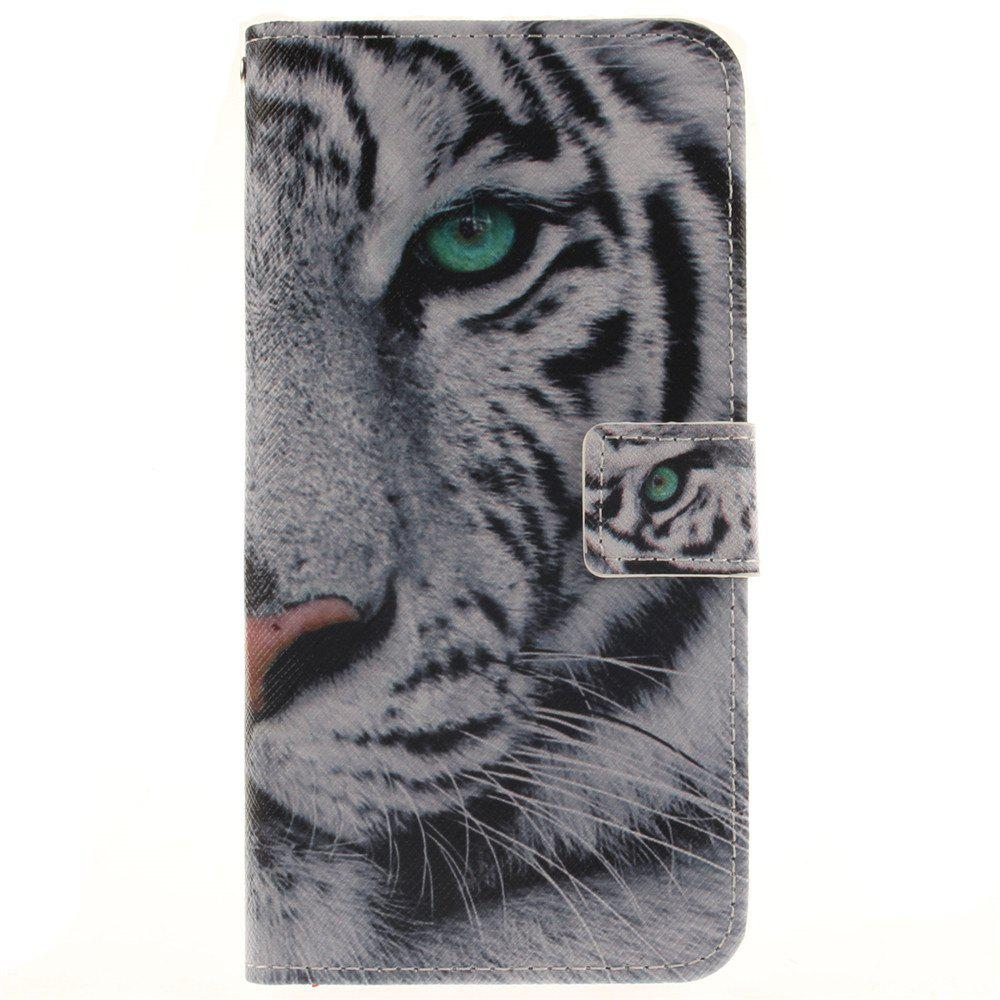 Cover Case For LG V10 The White Tiger PU+TPU Leather with Stand and Card Slots Magnetic Closure - WHITE