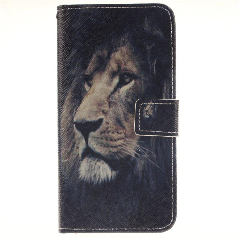 Cover Case For LG V10 Lion PU+TPU Leather with Stand and Card Slots Magnetic Closure - BLACK