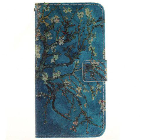 Cover Case For LG V10 Apricot Blossom Tree PU+TPU Leather with Stand and Card Slots Magnetic Closure - BLUE