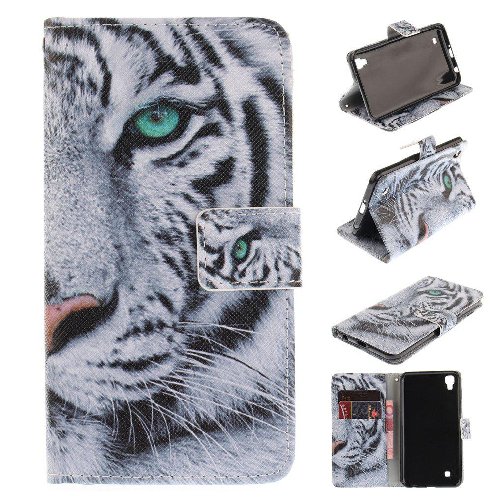 Cover Case For LG Xpower White Tiger PU+TPU Leather with Stand and Card Slots Magnetic Closure - WHITE
