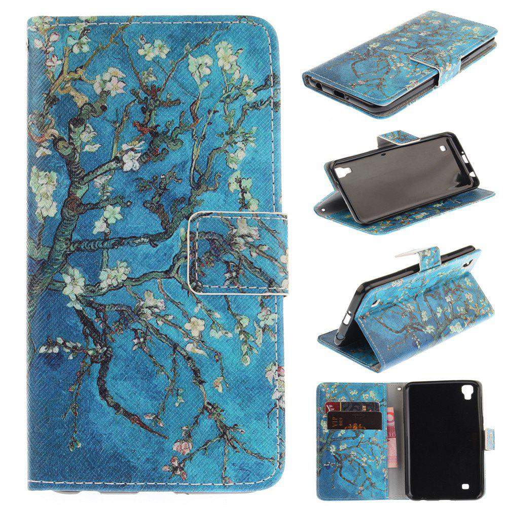 Cover Case For LG Xpower Apricot Blossom Tree PU+TPU Leather with Stand and Card Slots Magnetic Closure - BLUE