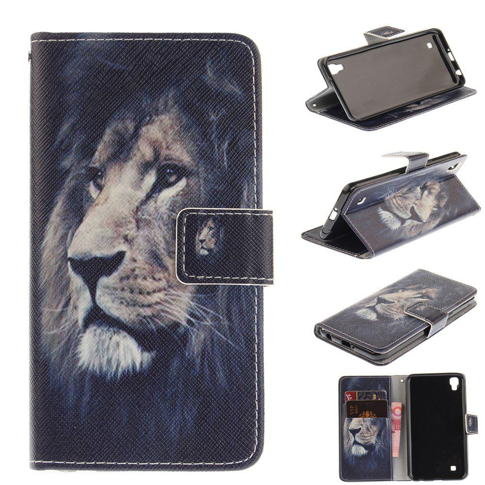 Cover Case For LG Xpower Lion PU+TPU Leather with Stand and Card Slots Magnetic Closure - BLACK