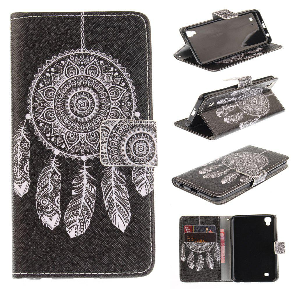 Cover Case For LG Xpower Black Wind Chimes PU+TPU Leather with Stand and Card Slots Magnetic Closure - BLACK