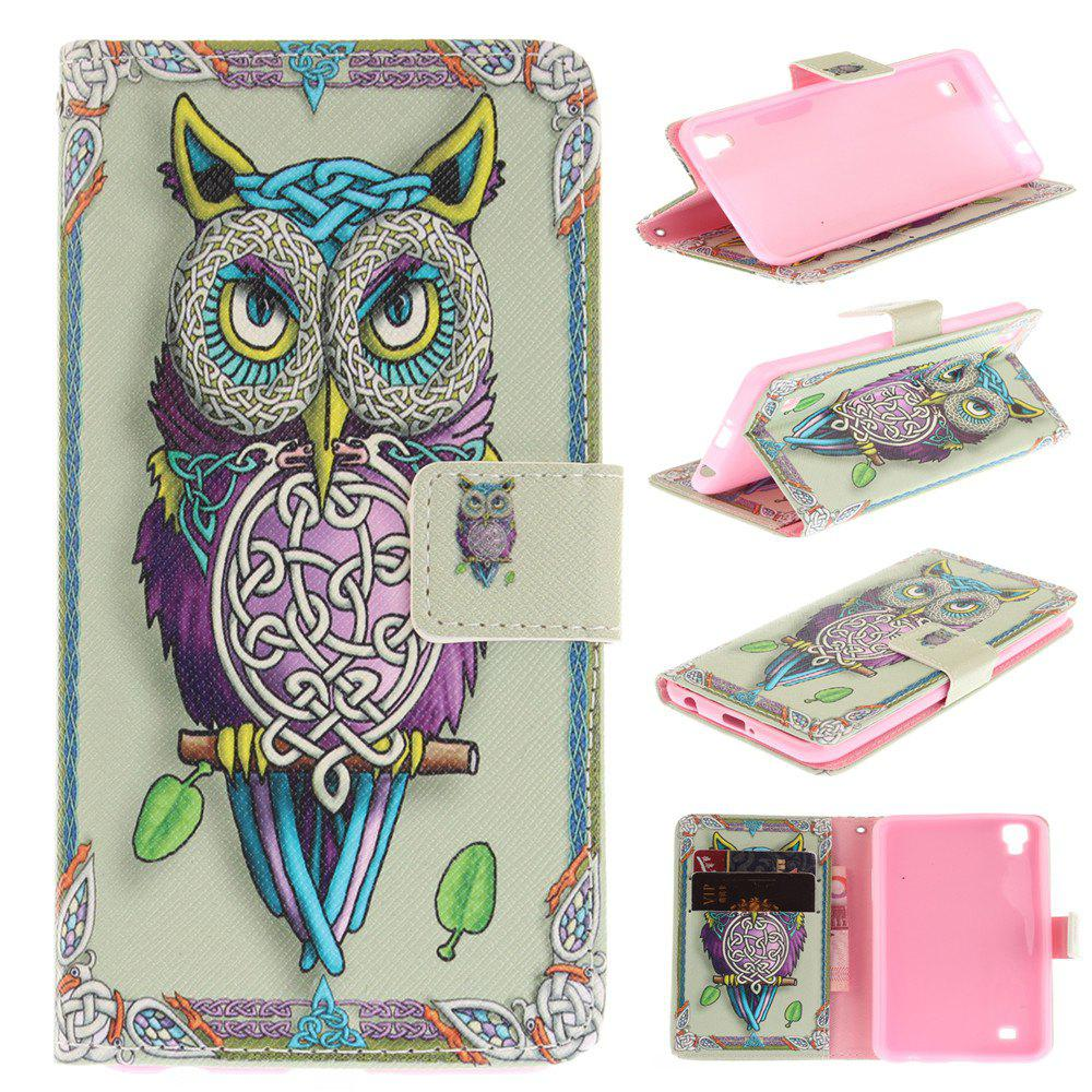 Cover Case For LG Xpower Owl PU+TPU Leather with Stand and Card Slots Magnetic Closure - YELLOW