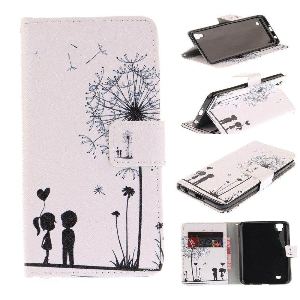 Cover Case For LG Xpower Dandelion PU+TPU Leather with Stand and Card Slots Magnetic Closure - WHITE