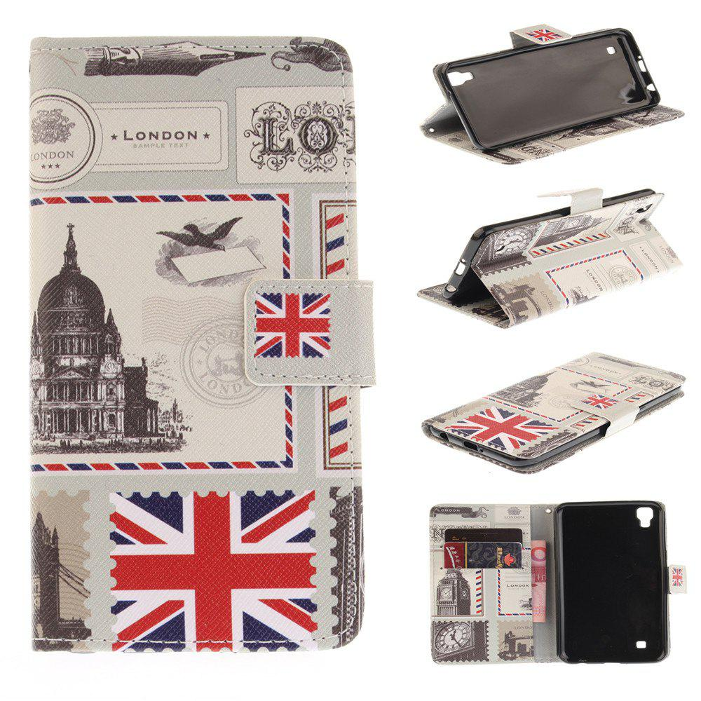 Cover Case For LG Xpower The Envelope of London PU+TPU Leather with Stand and Card Slots Magnetic Closure - YELLOW