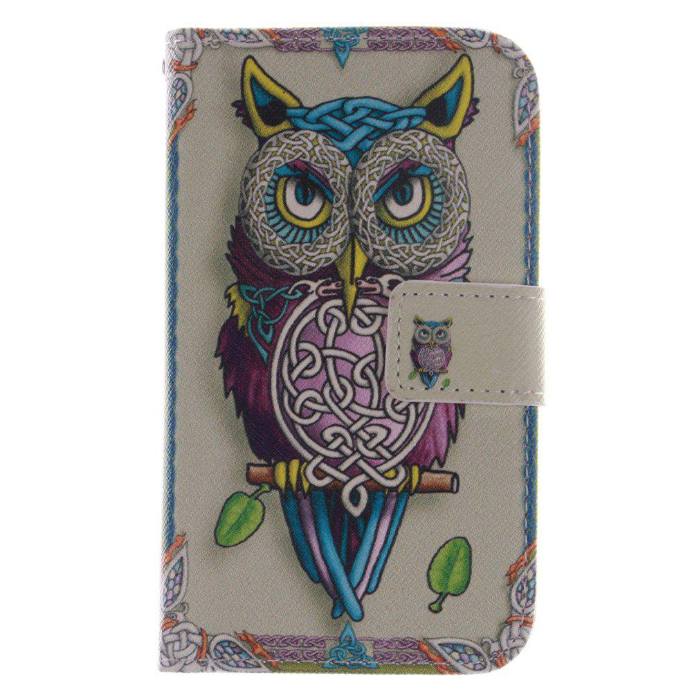 Cover Case For LG G2 Mini Owl PU+TPU Leather with Stand and Card Slots Magnetic Closure - YELLOW