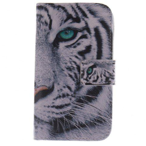 Cover Case For LG G2 Mini White Tiger PU+TPU Leather with Stand and Card Slots Magnetic Closure - WHITE