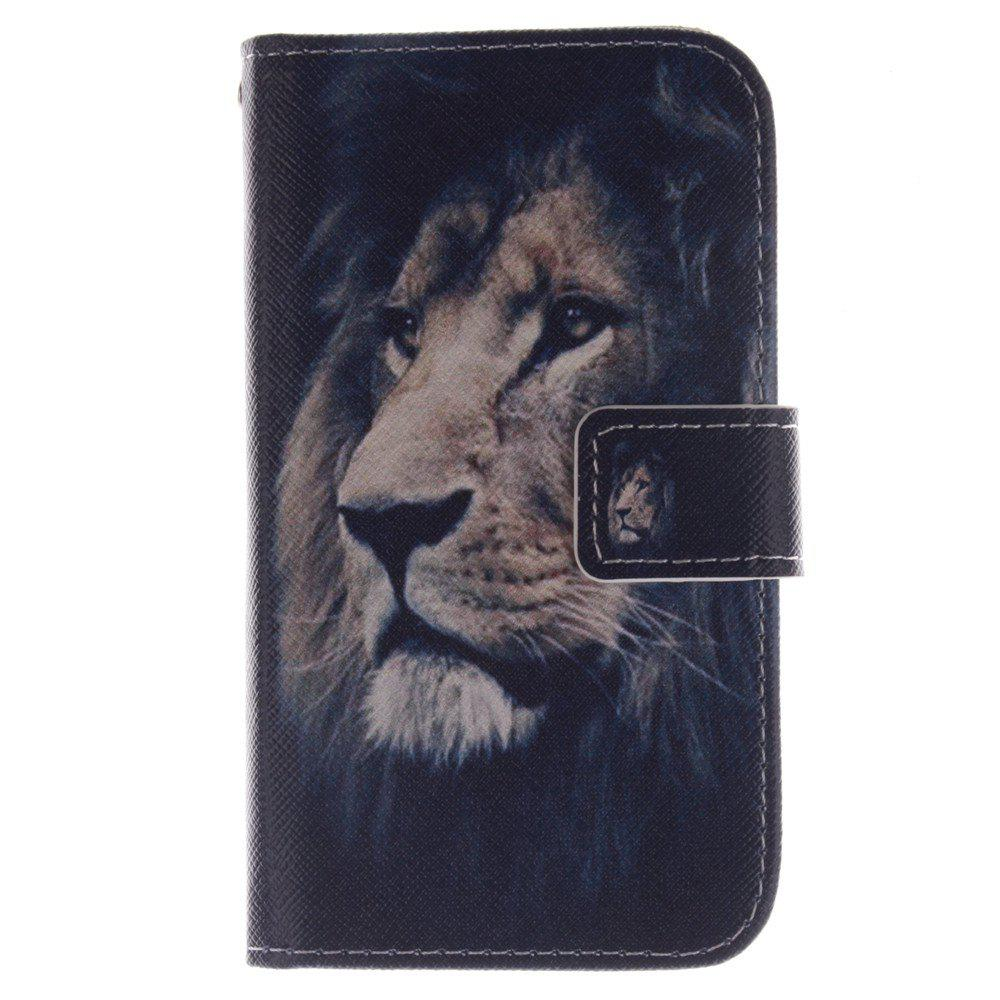 Cover Case For LG G2 Mini lion PU+TPU Leather with Stand and Card Slots Magnetic Closure - BLACK