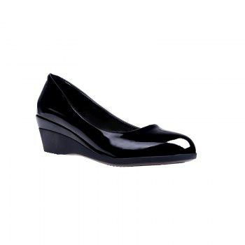 Flat Black Leather Anti-slip Wedges And Women's Shoes