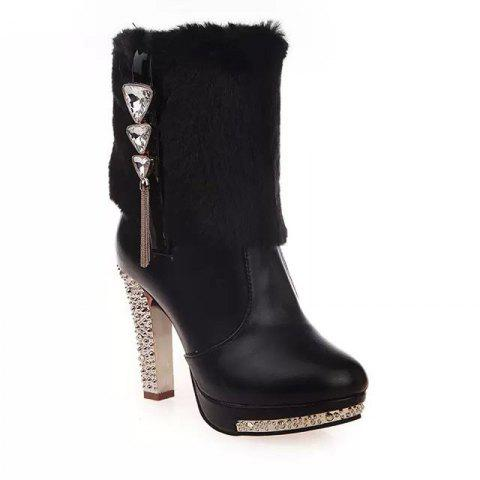 Waterproof Platform High Heels With Female Boots To Decorate Martin Boots - BLACK 41