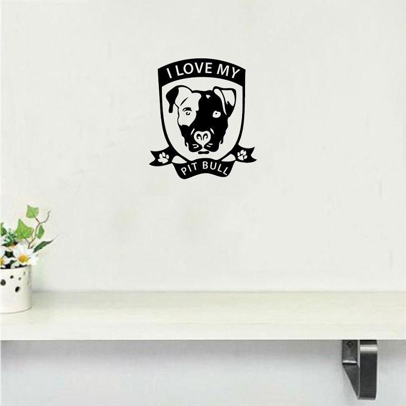 2018 dsu j 39 aime mon autocollant de mur de vinyle de pitbull creative cartoon animal vinyle wall. Black Bedroom Furniture Sets. Home Design Ideas