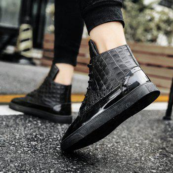 Men Fashion Leisure Boots Casual Spring Crocodile Leather Business Comfortable Shoes - BLACK 42