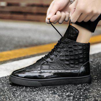 Men Fashion Leisure Boots Casual Spring Crocodile Leather Business Comfortable Shoes - BLACK 39