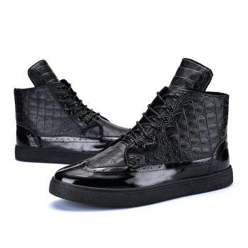 Men Fashion Leisure Boots Casual Spring Crocodile Leather Business Comfortable Shoes - BLACK 40