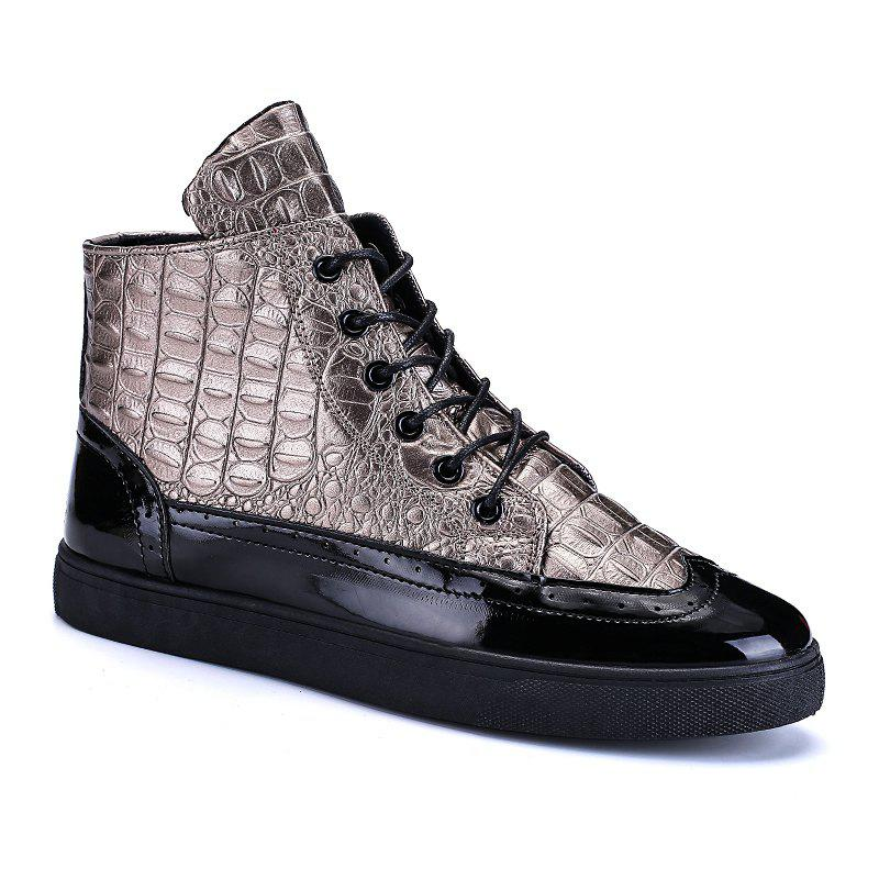 Men Fashion Leisure Boots Casual Spring Crocodile Leather Business Comfortable Shoes - GOLDEN 43