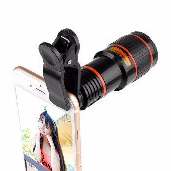 12x Zoom Optical Telescope Portable Mobile Phone Telephoto Camera Lens and Clip for iPhone / Samsung / Huawei / Xiaomi -  BLACK