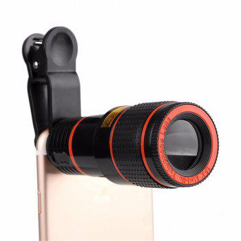 12x Zoom Optical Telescope Portable Mobile Phone Telephoto Camera Lens and Clip for iPhone / Samsung / Huawei / Xiaomi - BLACK BLACK