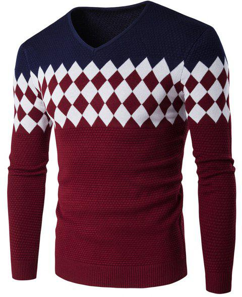 Autumn Winter Men Fashion Diamond Grid V-Neck Knit Sweater - CADETBLUE L