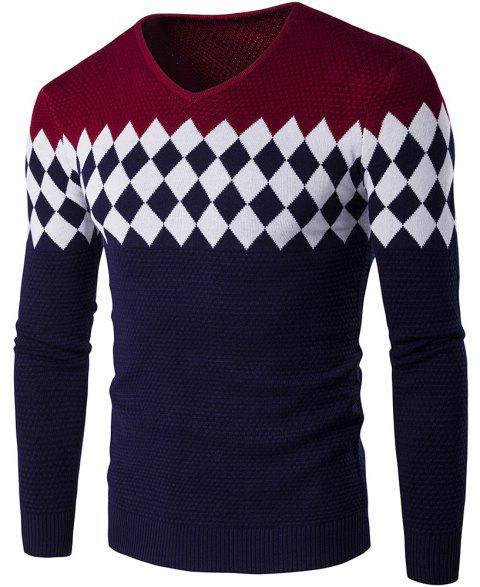 Autumn Winter Men Fashion Diamond Grid V-Neck Knit Sweater - WINE RED M