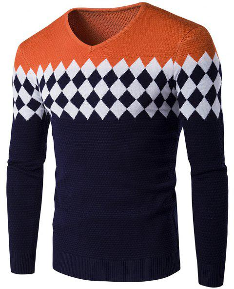 Autumn Winter Men Fashion Diamond Grid V-Neck Knit Sweater - ORANGE STRIPES XL